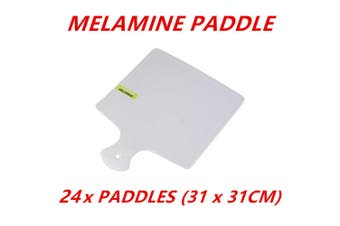 24 x Melamine Square Serving Paddles With Handle 31cm Tray Plate Kitchen Dinner
