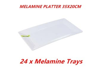 24 x Glossy White Melamine Serving Trays 35x20cm Platter Kitchen Party Dinner