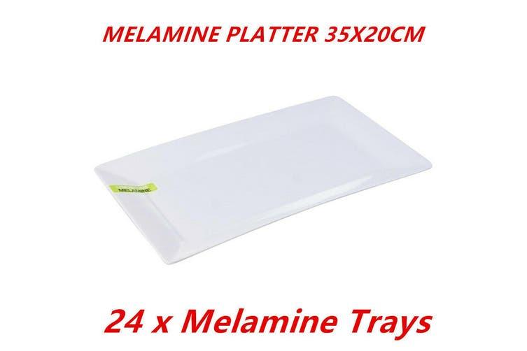 24 x Glossy White Melamine Serving Trays 35x20cm Platter Kitchen Party Dinner