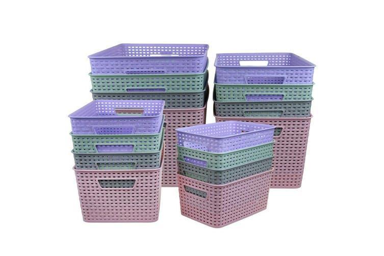 24 x Multi-Purpose Plastic Woven Storage Basket Storage Organizer 26x39x16.5cm