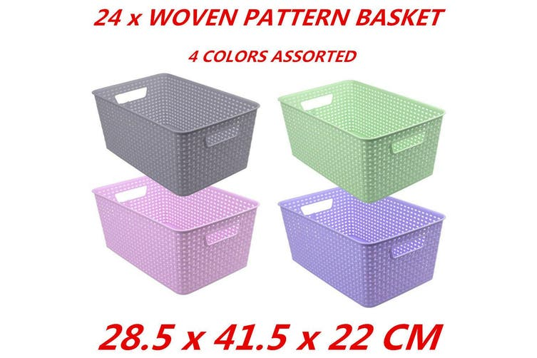 24 x Multi-Purpose Plastic Woven Storage Basket Storage Organizer 28.5x41.5x22cm