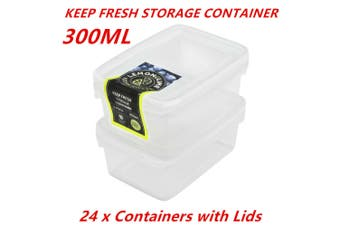 24 x 300ml Rectangle Stack-able Plastic Food Storage Container Box Lid BPA Free BUL