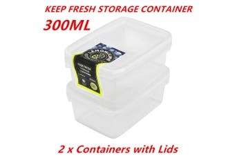 2 x 300ml Rectangle Stack-able Plastic Food Storage Container Box Lid BPA Free BULK