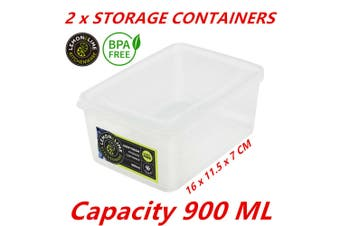 2 x Plastic Food Containers Takeaway Meal Storage Lunch Boxes With Lid BPA Free