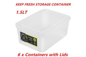 6 x 1.5L Rectangle Stack-able Plastic Food Storage Container Box Lid BPA Free Bulk