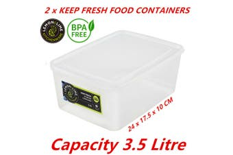 2 x 3.5L Plastic Food Containers Takeaway Meal Storage Lunch Boxes Lid BPA Free
