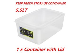 1 x 5.5L Rectangle Stack-able Plastic Food Storage Container Box Lid BPA Free