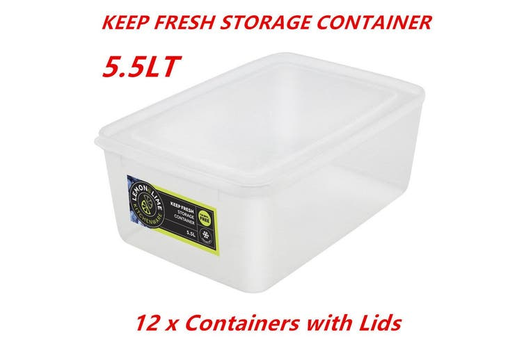 12 x 5.5L Rectangle Stack-able Plastic Food Storage Container Box Lid BPA Free