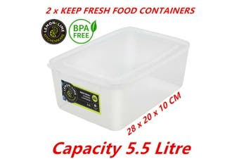 2 x 5.5L Plastic Food Containers Takeaway Meal Storage Lunch Boxes Lid BPA Free