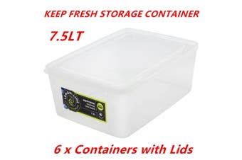 6 x 7.5L Rectangle Stack-able Plastic Food Storage Container Box Tub Lid BPA Free