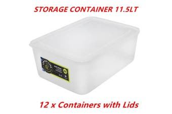 12 x 11.5L Rectangle Stack-able Plastic Food Storage Container Box Lid BPA Free WMCV
