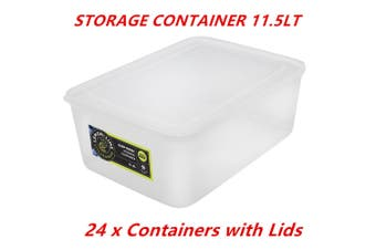 24 x 11.5L Rectangle Stack-able Plastic Food Storage Container Box Lid BPA Free WMCV