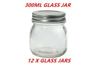 12 x Small Round Glass Jars 300ml Jam Preserving Conserve with Silver Lid Container