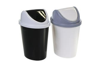 2 x 2.3L Colored Plastic Bins Swing Lid Desktop Rubbish Waste Trash Home Office