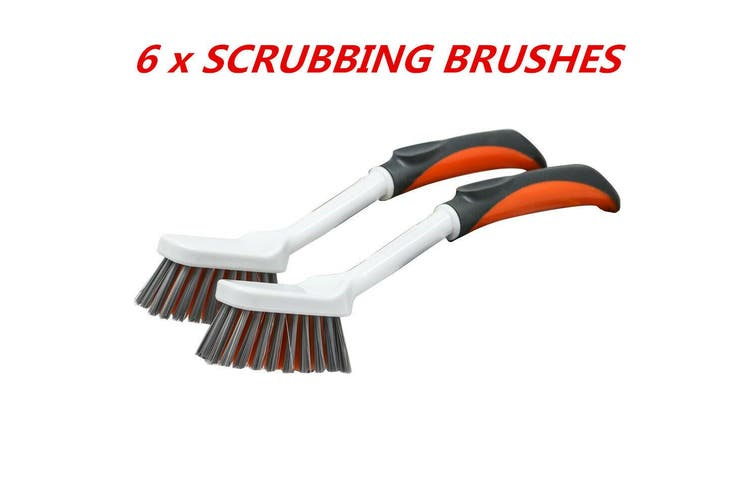 6 x Plastic Scrubbing Brushes w Handle Toilet Bathroom Kitchen Cleaning Scrub