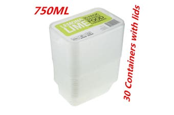 30 x 750ML RECTANGLE TAKEAWAY CONTAINERS w LIDS DISPOSABLE PLASTIC FOOD CONTAINER