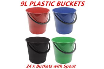 24 x Round Plastic Buckets Spout 9L Garden Mop Car Clean Washing Colored Bucket