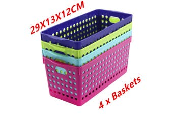 4 x Neon Color Plastic Storage Basket Bins Tubs Containers 29x13x12CM Home Office