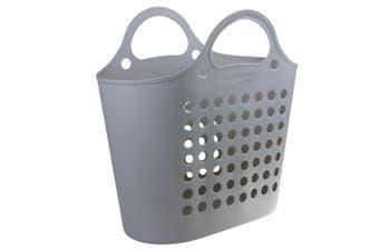 Grey Plastic Flexible Carry Laundry Basket Washing Clothes Storage Bin Home 50x29cm