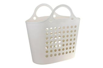 Ivory Plastic Flexible Carry Laundry Basket Washing Clothes Storage Bin Home 50x29cm