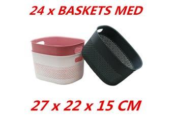 24 x Plastic Carry Storage Baskets Container Bin Organizer Tray Home 27x22x15CM