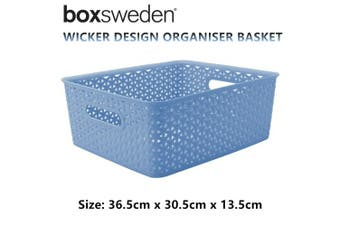 2 x Blue Wicker Design Organiser Basket Home Storage Aerated Container Laundry Bin Box