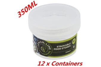 12 x 350ML Screw Top Stack-able Plastic Food Storage Container Box Tubs Lid BPAFree m