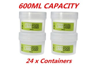 24 x 600ML Short Screw Top Stack-able Plastic Food Storage Container Box Tubs Lid