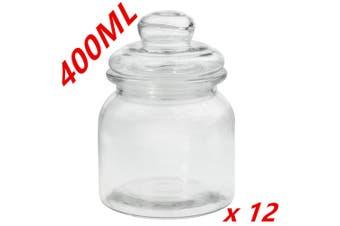 12 x Clear 400ml Glass Jars Multi-purpose Storage Jar Glass Lid Candle Candy