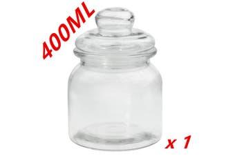 1 x Clear 400ml Glass Jars Multi-purpose Storage Jar Glass Lid Candle Candy