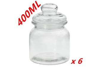 6 x Clear 400ml Glass Jars Multi-purpose Storage Jar Glass Lid Candle Candy