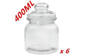 6 x Clear 400ml Glass Jars Multi-purpose Storage Jar Glass Lid Candle Candy Wedding