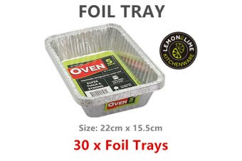 30x Aluminium Foil Tray Food Container Oven Baking BBQ Roasting Soup Catering