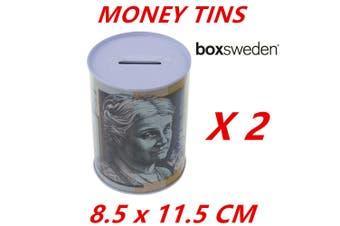 2 x Dollar Note Money Tin Australian Box Jar Piggy Bank Coin OZ Variety Aussie S