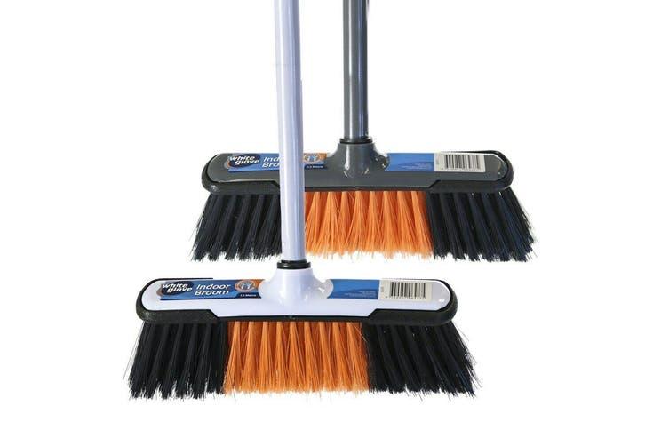 White Deluxe Indoor Push Broom Head 27cm with 1.2M Handle Tidy Clean Floor Sweeper