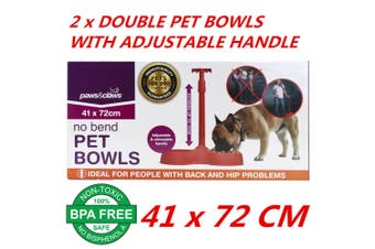2 x No Bend Pet Dog Cat Puppy Food Double Bowls With Adjustable Handle 41x72cm