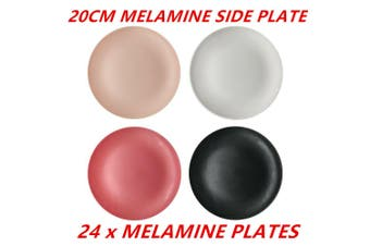 24 x Matte Melamine Side Plates 20cm Color Wedding Birthday Party Snack Plate