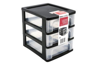 3-Tiers Black Drawer Desktop Cabinet Storage Organiser Box Office Stationery 24cm