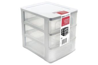 3 Layers White Drawer Plastic Desktop Cabinet Storage Organiser Box Office Stationery