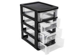 4 Tier Black Drawer Desktop Cabinet Storage Organiser Office Stationery 24.5cm WM