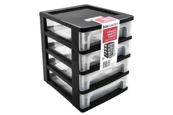 4 Tiers Black Drawer Plastic Desktop Cabinet Storage Organiser Box Office Stationery D