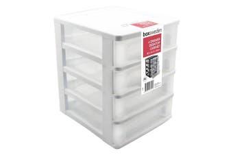4 Tiers White Drawer Plastic Desktop Cabinet Storage Organiser Box Office Stationery D