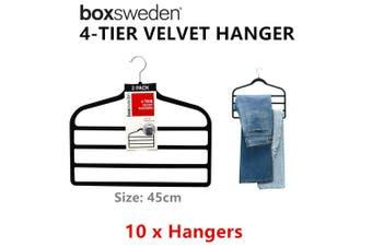10 x Velvet Hangers 4 Tiers 45cm Non Slip Trousers Skirts Holder Laundry Storage