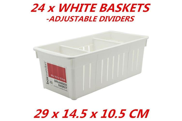 24 x Baskets with Dividers Inserts Kitchen Organizer Tray Drawer 29x14.5x10.5cm