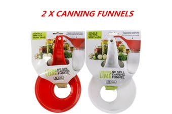 2 x Plastic Wide Mouth Canning Funnel Hopper Fruit Jam Tool Kitchen Kit Long Handle