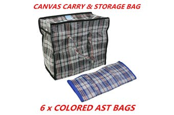 6 x Canvas Bag BBQ Camping Outdoor Carry Storage Organisation Heavy Duty 39x35x30cm