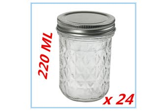 24 x QUILTED CONSERVE JAM CANDLE MAKING GLASS JARS JAR 220ML CANDY EVENT PARTY F