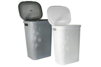 60L Grey Plastic Laundry Hamper Basket Clothes Washing Storage Basket