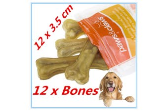 12 x NATURAL BEEF RAWHIDE BONES STICKS CHEWS LONG LASTING DOG TREAT ADULT PUPPY
