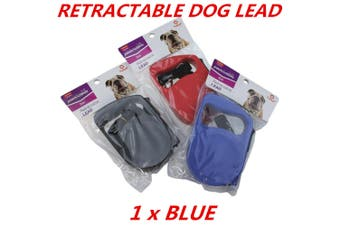 Blue Automatic Retractable Extendable Traction Rope Dog Pet Puppy Walk Lead Leash 5m